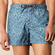 Blue zipped floral swim shorts