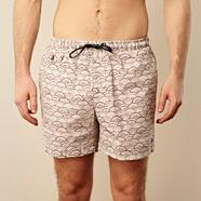 White sketched semicircle patterned swim shorts