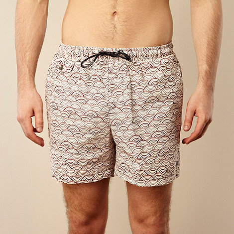 Hardcastle - White sketched semicircle patterned swim shorts