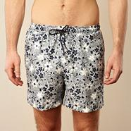 Navy hibiscus printed swim shorts