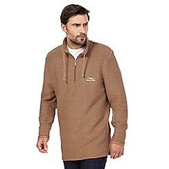Weird Fish - Big and tall brown textured half-zip jumper