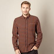 Tan woven checked shirt