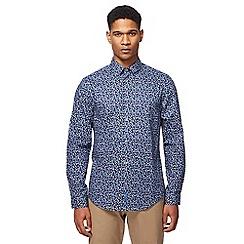 Ben Sherman - Big and tall navy ditsy floral print long-sleeved shirt