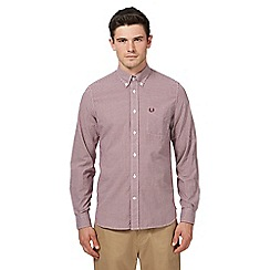 Fred Perry - Dark red gingham print long sleeve shirt