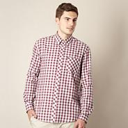 Big and tall dark red mini dogtooth checked shirt