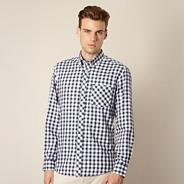 Dark blue dogtooth checked shirt