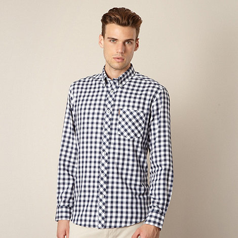 Ben Sherman - Big and tall dark blue dogtooth checked shirt