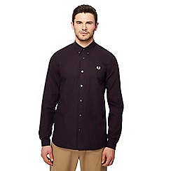 Fred Perry - Maroon basket weave check long sleeve shirt