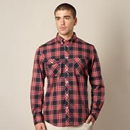 Big and tall red casual check shirt