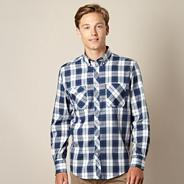 Big and tall blue casual check shirt