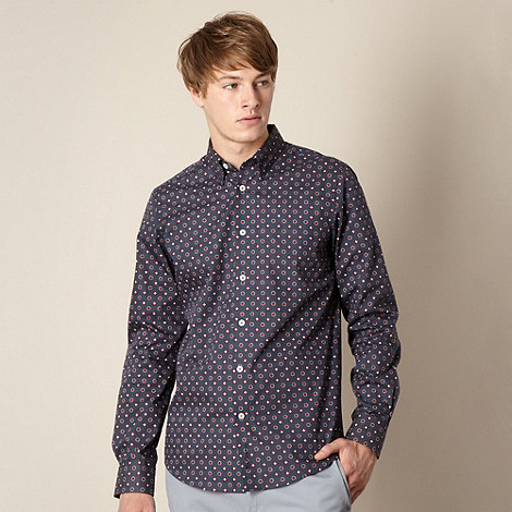 Ben Sherman - Big and tall navy geo spotted shirt