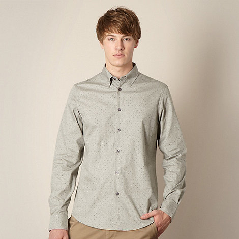 Ben Sherman - Grey two tone letter print shirt