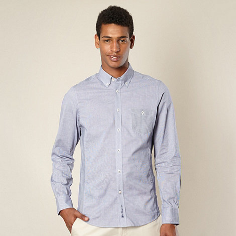 Ben Sherman - Big and tall blue mixed dogtooth shirt
