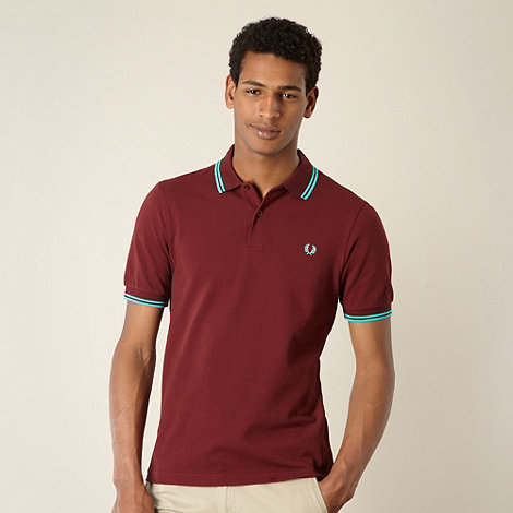 Fred Perry - Slim fit wine double tipped polo shirt