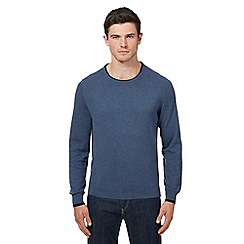 Ben Sherman - Big and tall navy tipped crew neck jumper