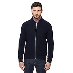 Ben Sherman - Navy zip though knitted cardigan