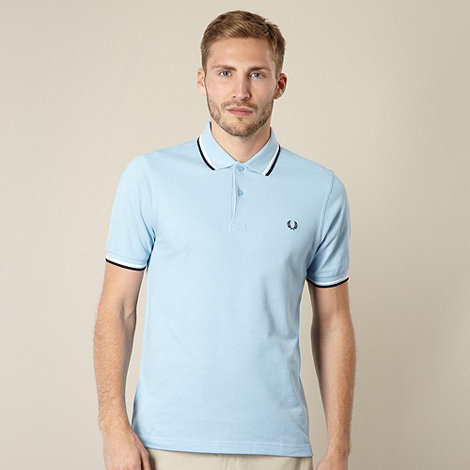 Fred Perry - Light blue slim tipped polo shirt