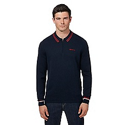 Ben Sherman - Navy knitted long sleeved long sleeve polo shirt