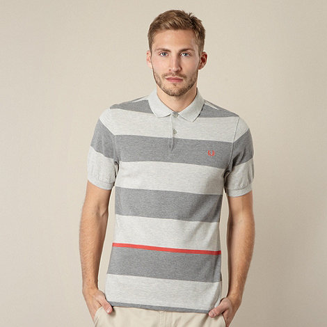 Fred Perry - Grey wide striped polo shirt