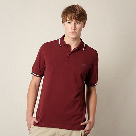 Fred Perry - Wine twin striped pique polo shirt
