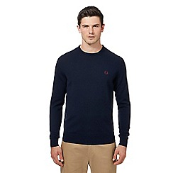 Fred Perry - Navy Merino wool crew neck jumper
