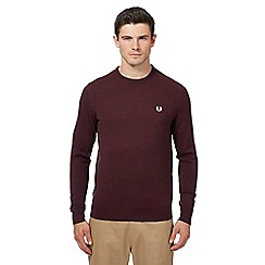 Fred Perry - Maroon Merino wool crew neck jumper