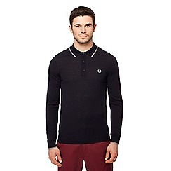 Fred Perry - Navy long sleeve knitted polo shirt