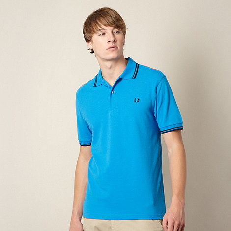 Fred Perry - Bright blue twin striped pique polo shirt