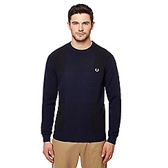 Fred Perry - Navy gingham crew neck jumper