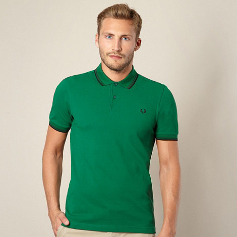 Fred Perry - Green twin striped pique polo shirt