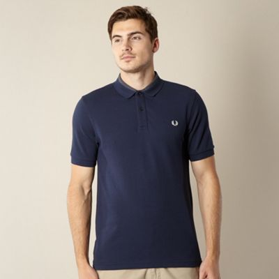 Fred Perry navy gingham collar polo shirt