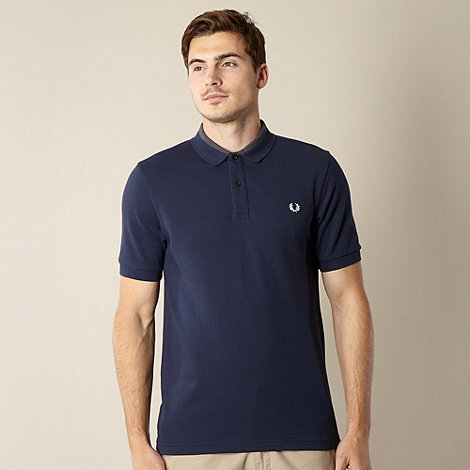 Fred Perry - Navy gingham collar polo shirt