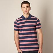Big and tall pink and blue striped polo shirt