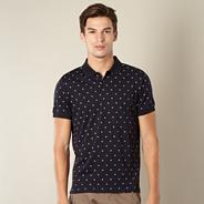 Big and tall navy bowler hat printed polo shirt