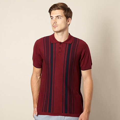 Ben Sherman - Big and tall wine vertical striped knit polo shirt