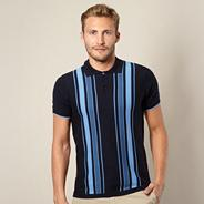 Big and tall navy striped knitted polo shirt