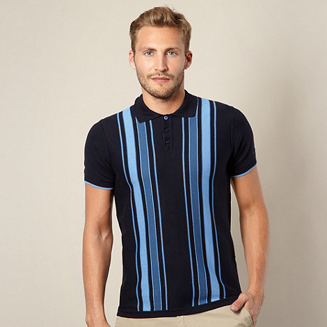 Ben Sherman - Navy striped knitted polo shirt