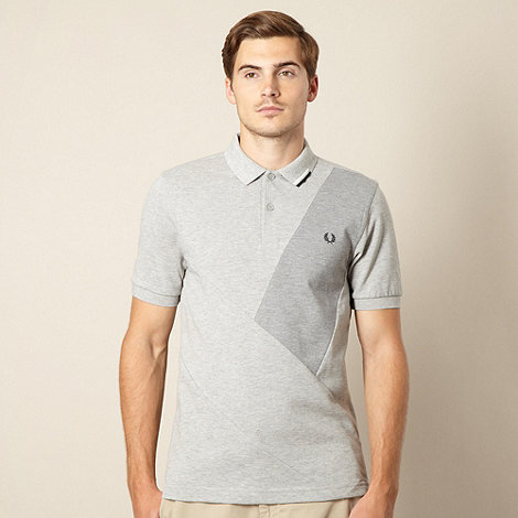 Fred Perry - Grey cut and sew pique polo shirt