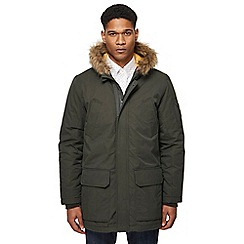 Ben Sherman - Big and tall dark green faux fur trim parka