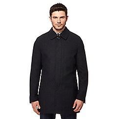 Ben Sherman - Dark grey checked coat with wool