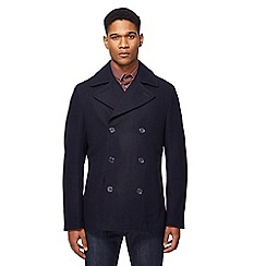 Ben Sherman - Big and tall navy double breasted wool-blend peacoat