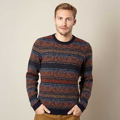 Farah 1920 - Navy jacquard striped jumper
