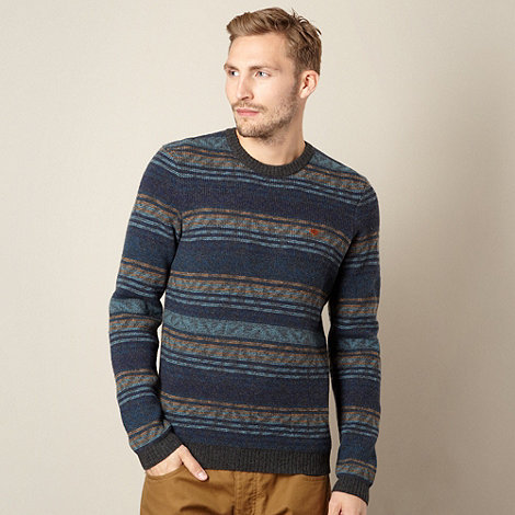 Farah 1920 - Dark grey jacquard striped lambswool blend jumper