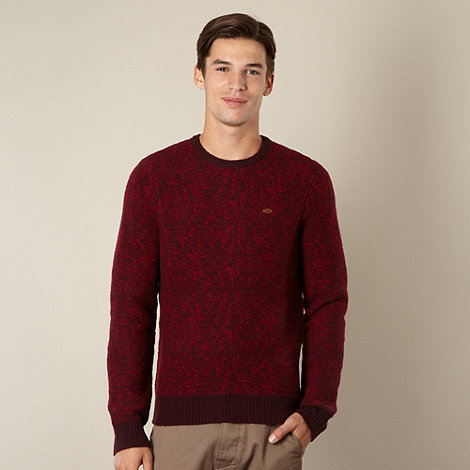 Farah 1920 - Wine textured stripe lambswool blend jumper