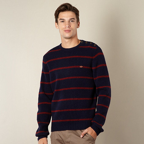 Farah 1920 - Navy striped crew neck wool jumper