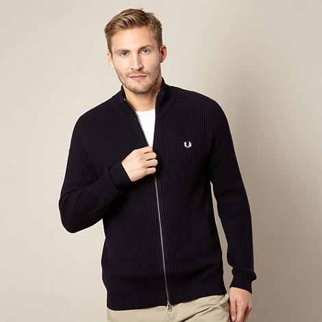 Fred Perry - Navy ribbed funnel neck jacket