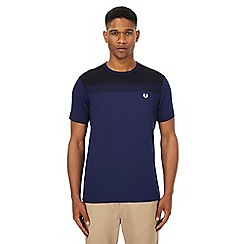 Fred Perry - Navy textured panel t-shirt