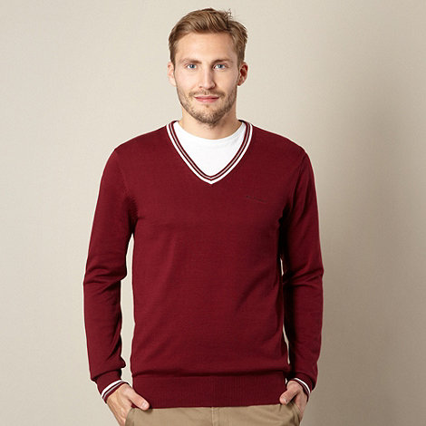 Ben Sherman - Big and tall wine double tipped v neck jumper