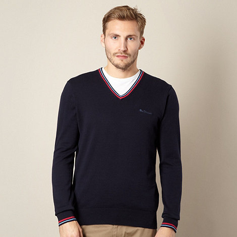 Ben Sherman - Big and tall navy double tipped v neck jumper