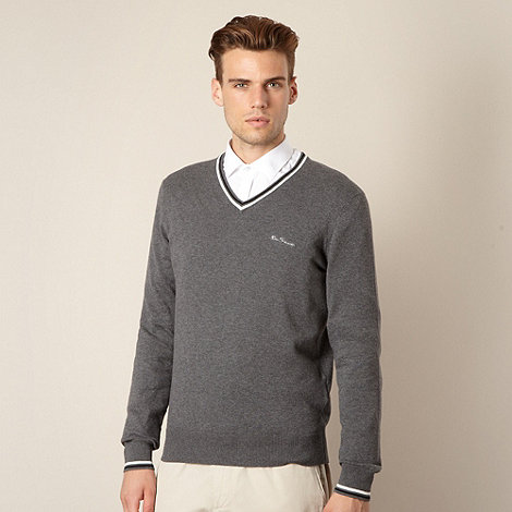 Ben Sherman - Dark grey twin striped V neck jumper